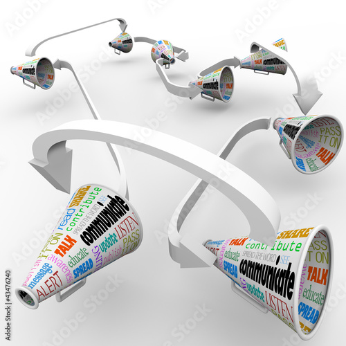 Communication Connected Bullhorns Megaphones Network
