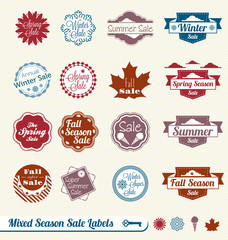 Vector Set: Mixed Season Shopping Sale Labels