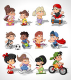 Cute happy cartoon kids playing