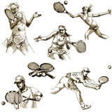 tennis players collection - hand drawings converted into vector