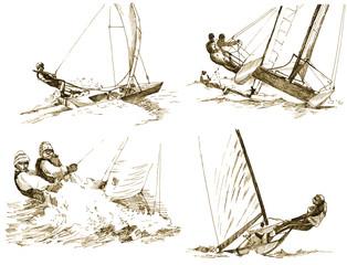 yachts - sailing, drawings converted to vector