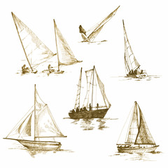 yachts,drawings converted to vector