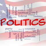 Politics Word Cloud Concept US Flag