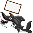 funny shark cartoon with blank sign