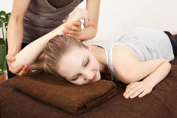 Women undergoing a massage