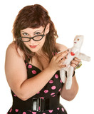 Fototapety Woman With Glasses and Voodoo Doll