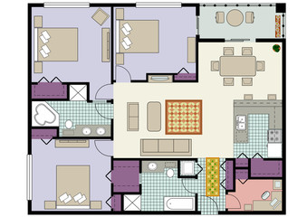 Floor plan of three-bedroom condo with den and furniture
