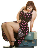 Lady Sitting on Suitcases