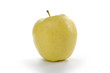 Golden apple on white background