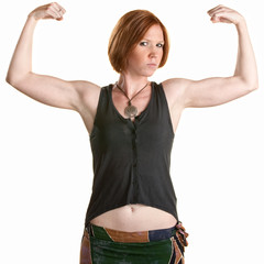 Serious Woman Flexing Muscles