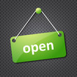 green open hanging sign