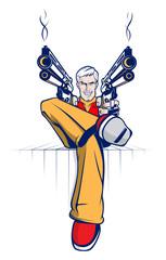 Cartoon gangster with smoking guns