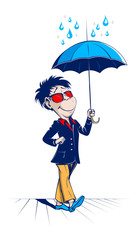 cartoon man with open umbrella