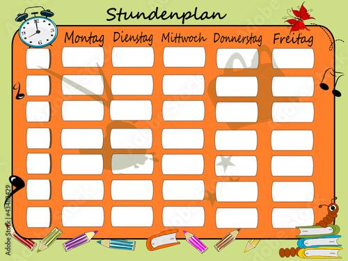 Schuleinführung, Stundenplan Illustration