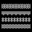 Seamless lace borders isolated on black