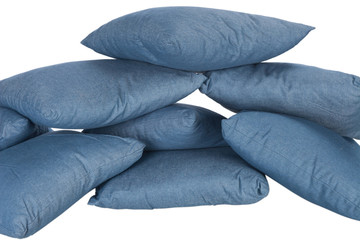 stack of blue denim pillows