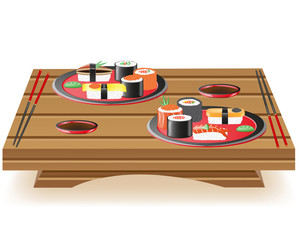 suchi served on wooden table illustration