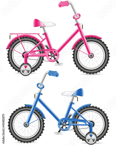 pink and blue kids bicycle illustration