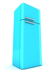 blue refrigerator on white background
