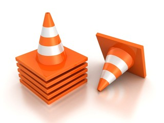 stack of orange road traffic cones on white background