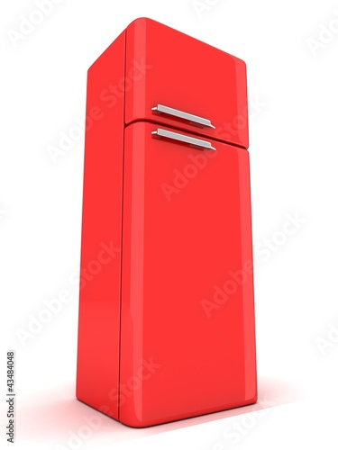 red refrigerator on white background