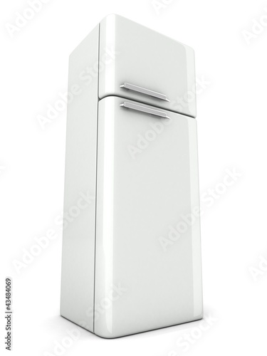 shiny modern white refrigerator on white background