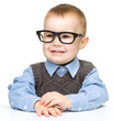 Portrait of a cute little boy wearing glasses