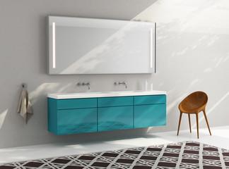 Green modern minimal elegant luxury bathroom, chair, rug,