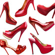 Red female shoes background-1