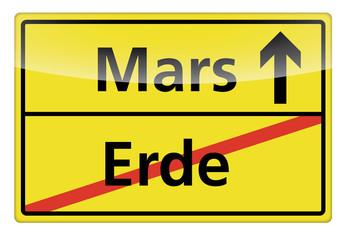 Ortsschild Erde-Mars