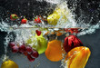 Fruit and vegetables splash into water - 43487877