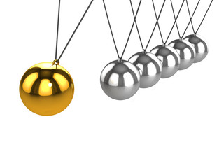 3d Newtons cradle gold ball swings closer