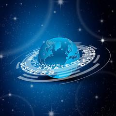 fond abstrait, planète/ stratégie,solution