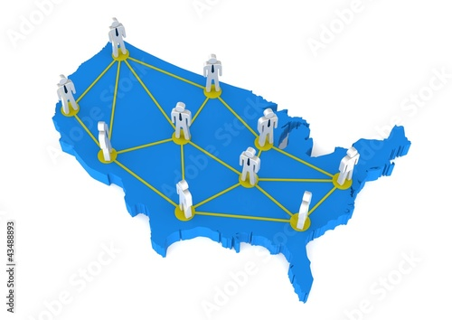 U S A 3D map communication network