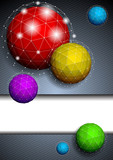 Background with polygonal sphere poster