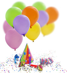 Colorful party birthday new year background with balloons