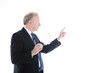 Businessman pointing to blank copyspace