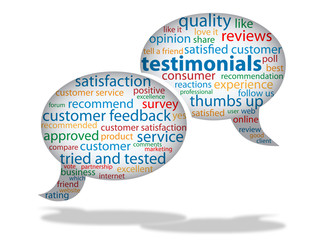 """Testimonials"" Symbol (icon tag cloud feedback rate)"