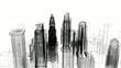 città grattacieli digital city rendering 3d wireframe new york