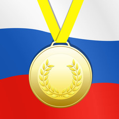 Gold medal with russian flag background