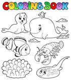 Coloring book various sea animals 3