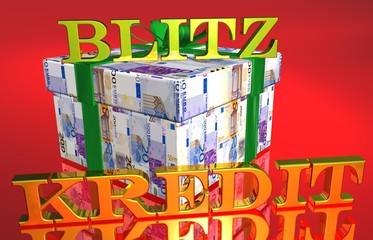 3D Geldgeschenk rot - BLITZKREDIT