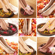 A collage of images with female feet, petals and bowls