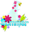 Cute summer text illustration with bee