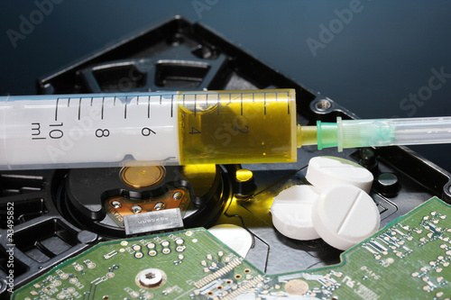 Hard disk drive on repairs on dark blue background