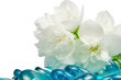 White Jasmine Flowers with Blue Glass Stones