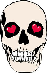 Skull with heart for eyes