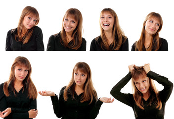 collection of portraitsd of emotional attractive blond teen girl