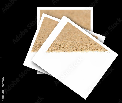 Set empty photos with desert sand isolated on black backgrounds