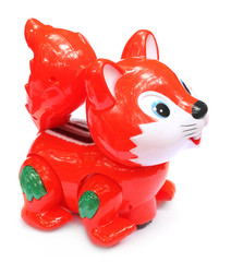 Toy squirrel over white background
